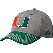 adidas Men's Miami Hurricanes Grey/Green Structured Adjustable Hat