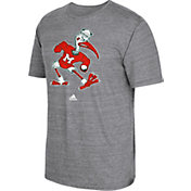 adidas Men's Miami Hurricanes Grey Vintage Tri-Blend T-Shirt