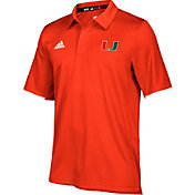 adidas Men's Miami Hurricanes Orange Sideline Iconic Polo