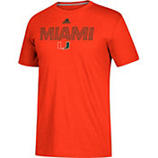 adidas Men's Miami Hurricanes Orange Go-To Performance T-Shirt