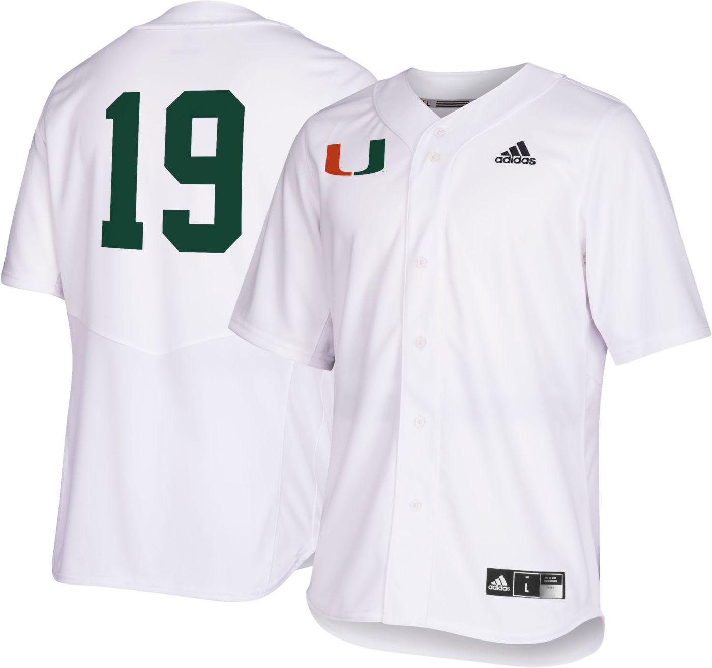 adidas Men's Miami Hurricanes #19 Replica Baseball White Jersey