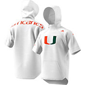 adidas Men's Miami Hurricanes Short Sleeve Shooter Basketball White Hoodie