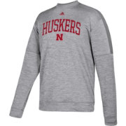 adidas Men's Nebraska Cornhuskers Grey Team Issue Performance Football Sweatshirt