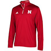 adidas Men's Nebraska Cornhuskers Scarlet  Team Iconic Football Quarter-Zip