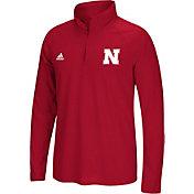 adidas Men's Nebraska Cornhuskers Scarlet Long Sleeve Quarter-Zip Performance Shirt