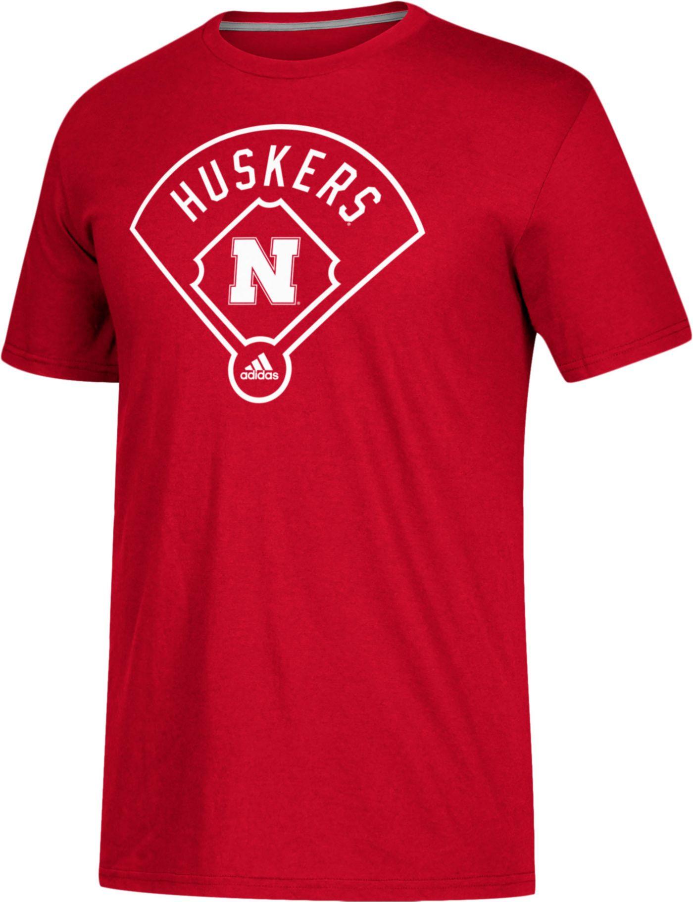 adidas Men's Nebraska Cornhuskers Scarlet 'Around The Horn' Go-To Performance Baseball T-Shirt
