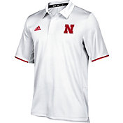 adidas Men's Nebraska Cornhuskers Cream Sideline Iconic Polo