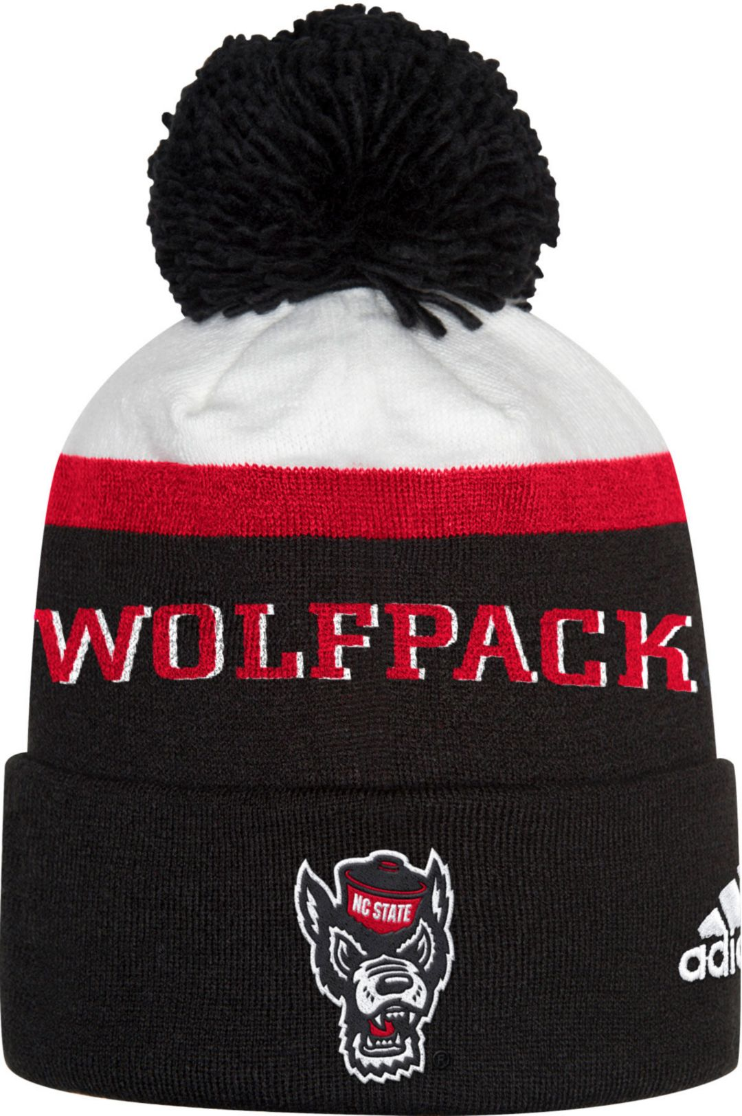 a0850b8c72337 adidas Men s NC State Wolfpack Cuffed Pom Knit Black Beanie 1