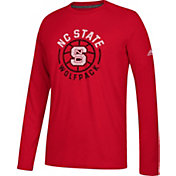 adidas Men's NC State Wolfpack Red Center Court Long Sleeve Basketball T-Shirt