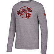 adidas Men's Indiana Hoosiers Grey Long Sleeve Tri-Blend T-Shirt