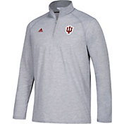 adidas Men's Indiana Hoosiers Grey Long Sleeve Performance Quarter-Zip Shirt