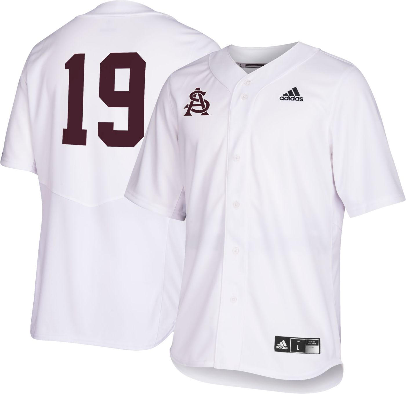 adidas Men's Arizona State Sun Devils #19 Replica Baseball White Jersey