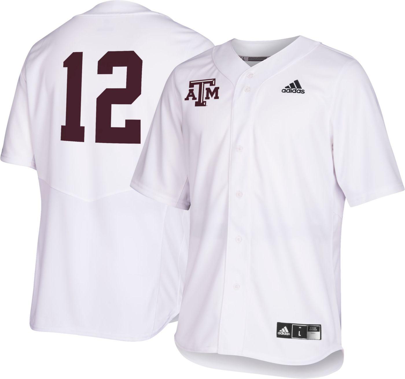 adidas Men's Texas A&M Aggies #12 Replica Baseball White Jersey
