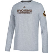 adidas Men's Wyoming Cowboys Grey Ultimate Performance Long Sleeve T-Shirt