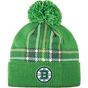 adidas Men's 2018 St. Patrick's Day Boston Bruins Green Pom Knit Beanie