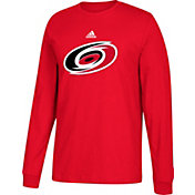 adidas Men's Carolina Hurricanes Big Logo Red Long Sleeve Shirt