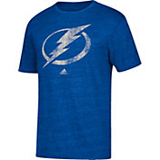 adidas Men's Tampa Bay Lightning Logo Tri-Blend Blue Heathered T-Shirt