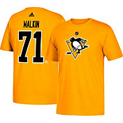 adidas Men's Pittsburgh Penguins Evgeni Malkin #71 Gold T-Shirt