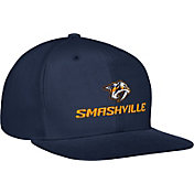 adidas Men's Nashville Predators Smashville Flat Brim Navy Snapback Adjustable Hat