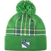 adidas Men's 2018 St. Patrick's Day New York Rangers Green Pom Knit Beanie