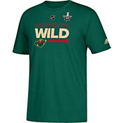 adidas Men's 2018 Stanley Cup Playoffs Minnesota Wild Locker Room Green T-Shirt