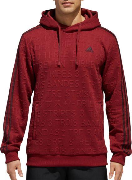 adidas Men s Cotton Fleece 3-Stripes Badge Of Sport Hoodie  3c62b34a0e686
