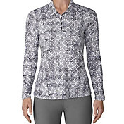 adidas Women's Advantage Printed Long Sleeve Golf Polo