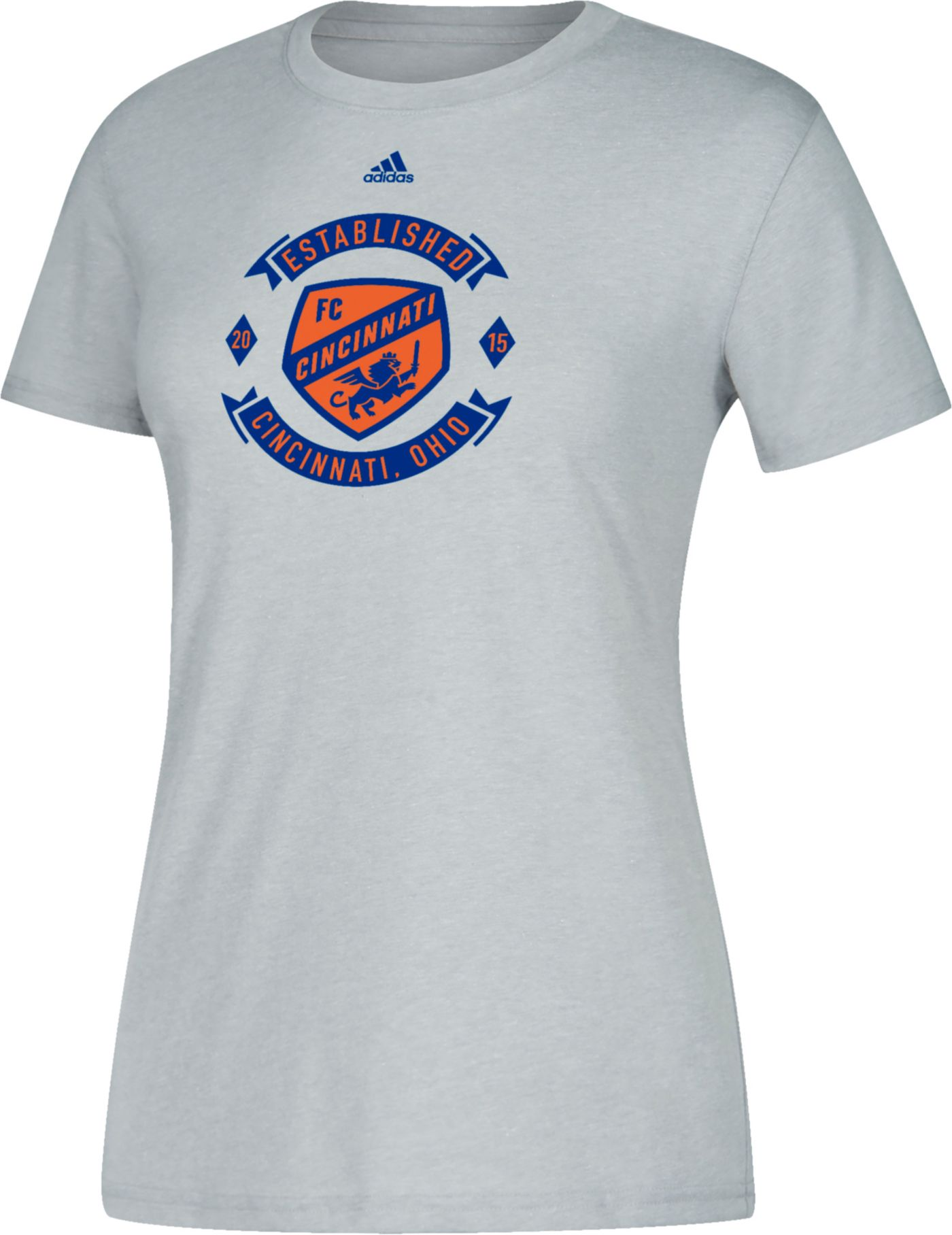 adidas Women's FC Cincinnati Best Crest Heather Grey Performance T-Shirt