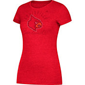 adidas Women's Louisville Cardinals Grey Cap Sleeve T-Shirt