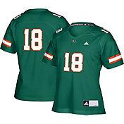 adidas Women's Miami Hurricanes Green #18 Replica Football Jersey