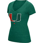 adidas Women's Miami Hurricanes Green Tri-Blend V-Neck T-Shirt