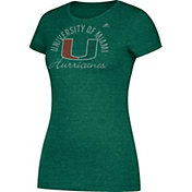 adidas Women's Miami Hurricanes Grey Cap Sleeve T-Shirt