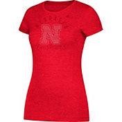 adidas Women's Nebraska Cornhuskers Grey Cap Sleeve T-Shirt