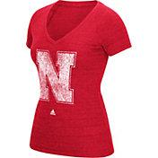 adidas Women's Nebraska Cornhuskers Scarlet Tri-Blend V-Neck T-Shirt