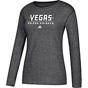 adidas Women's Vegas Golden Knights Wordmark Black Heathered Long Sleeve Shirt