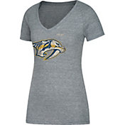 CCM Women's Nashville Predators Logo Heathered Grey V-Neck T-Shirt