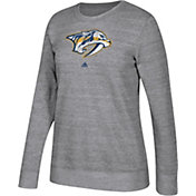 adidas Women's Nashville Predators Distressed Logo Heather Grey Sweatshirt