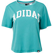 94a96079 Product Image · adidas Women's Essentials Collegiate Graphic Cropped T-Shirt