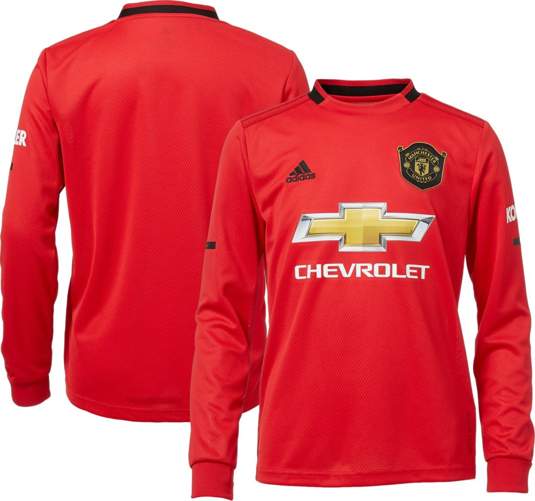 separation shoes 540aa 66130 adidas Youth Manchester United '19 Stadium Home Replica Long Sleeve Jersey