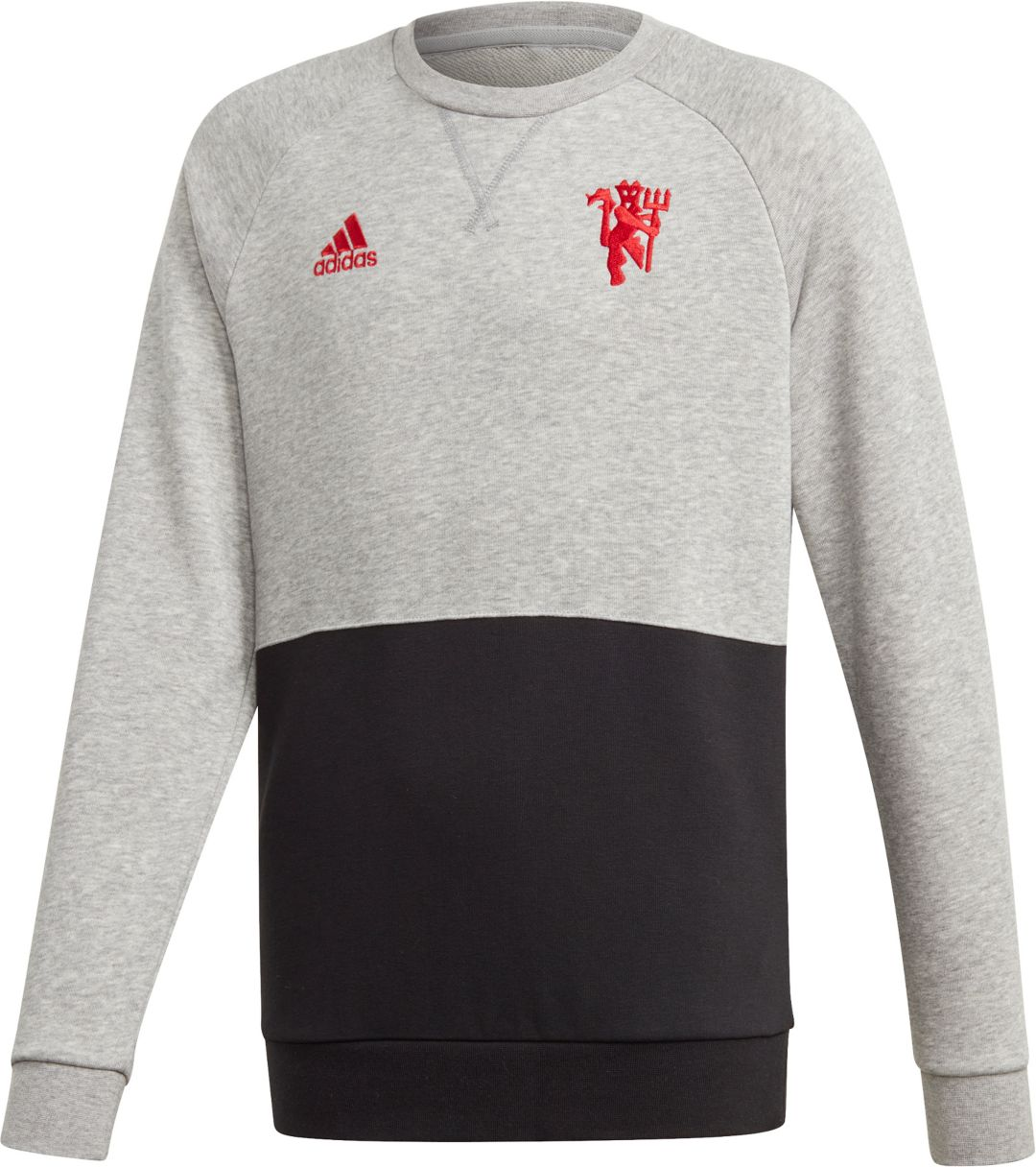 official photos 1b639 c16b0 adidas Youth Manchester United Crest Heather Grey Crew Neck Sweatshirt