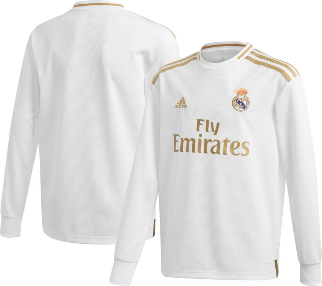 sale retailer bb136 cb8b9 adidas Youth Real Madrid '19 Stadium Home Replica Long Sleeve Jersey