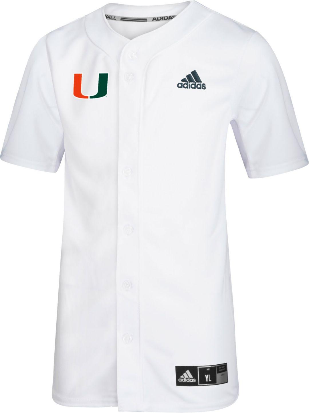 best service 37c96 94509 adidas Youth Miami Hurricanes #19 Full-Button Replica Baseball White Jersey