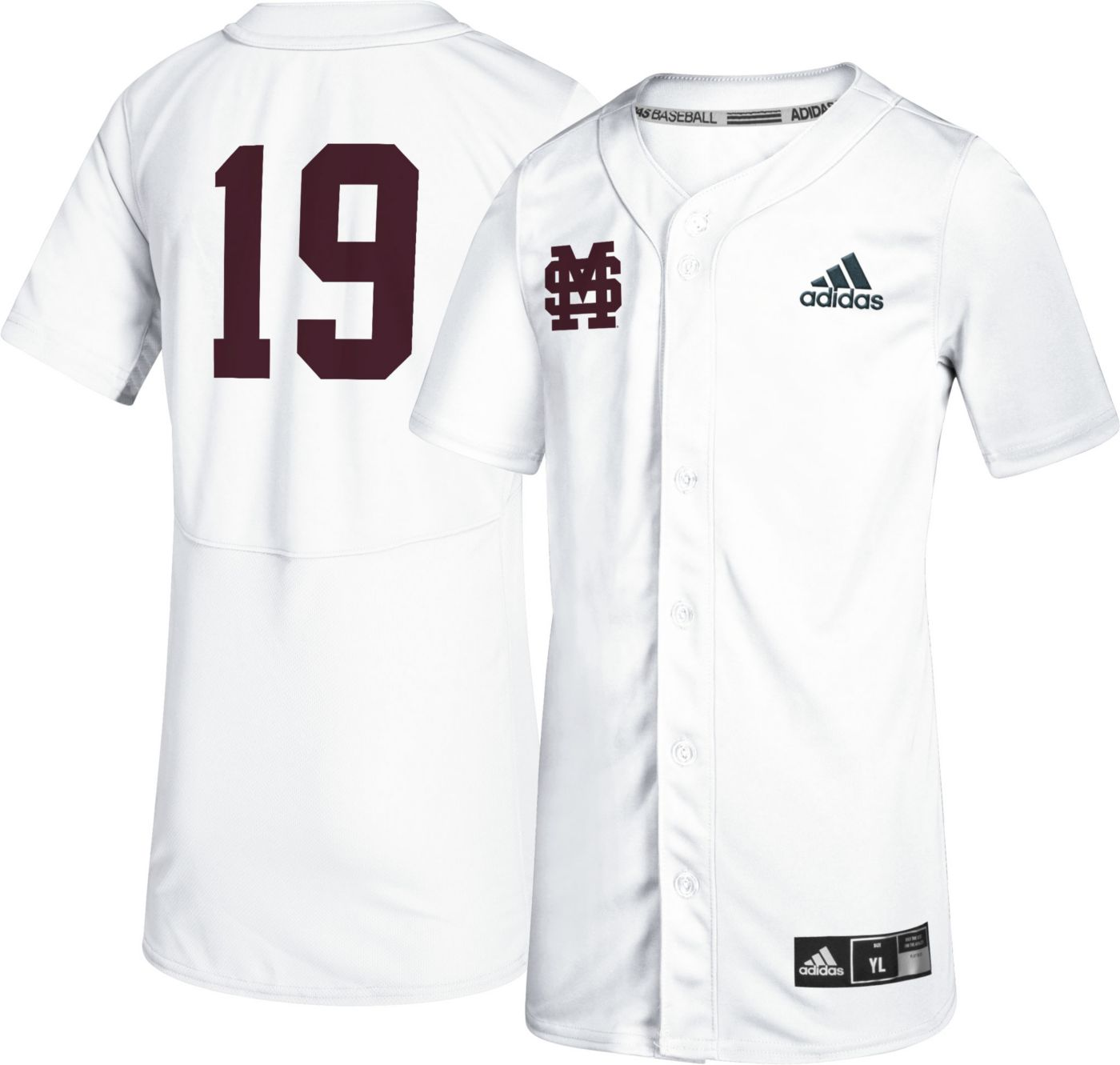 adidas Youth Mississippi State Bulldogs #19 Full-Button Replica Baseball White Jersey