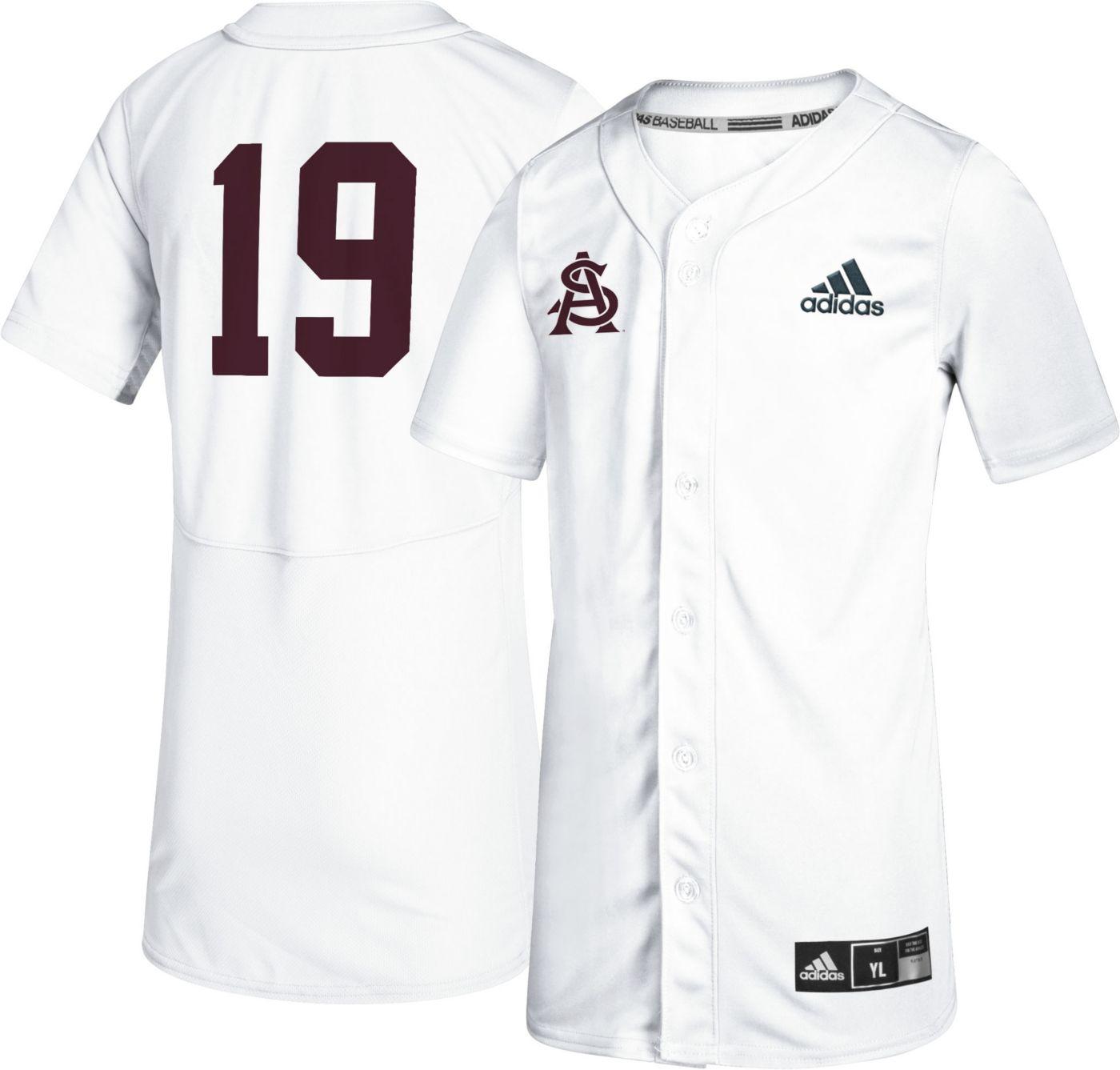 adidas Youth Arizona State Sun Devils #19 Full-Button Replica Baseball White Jersey