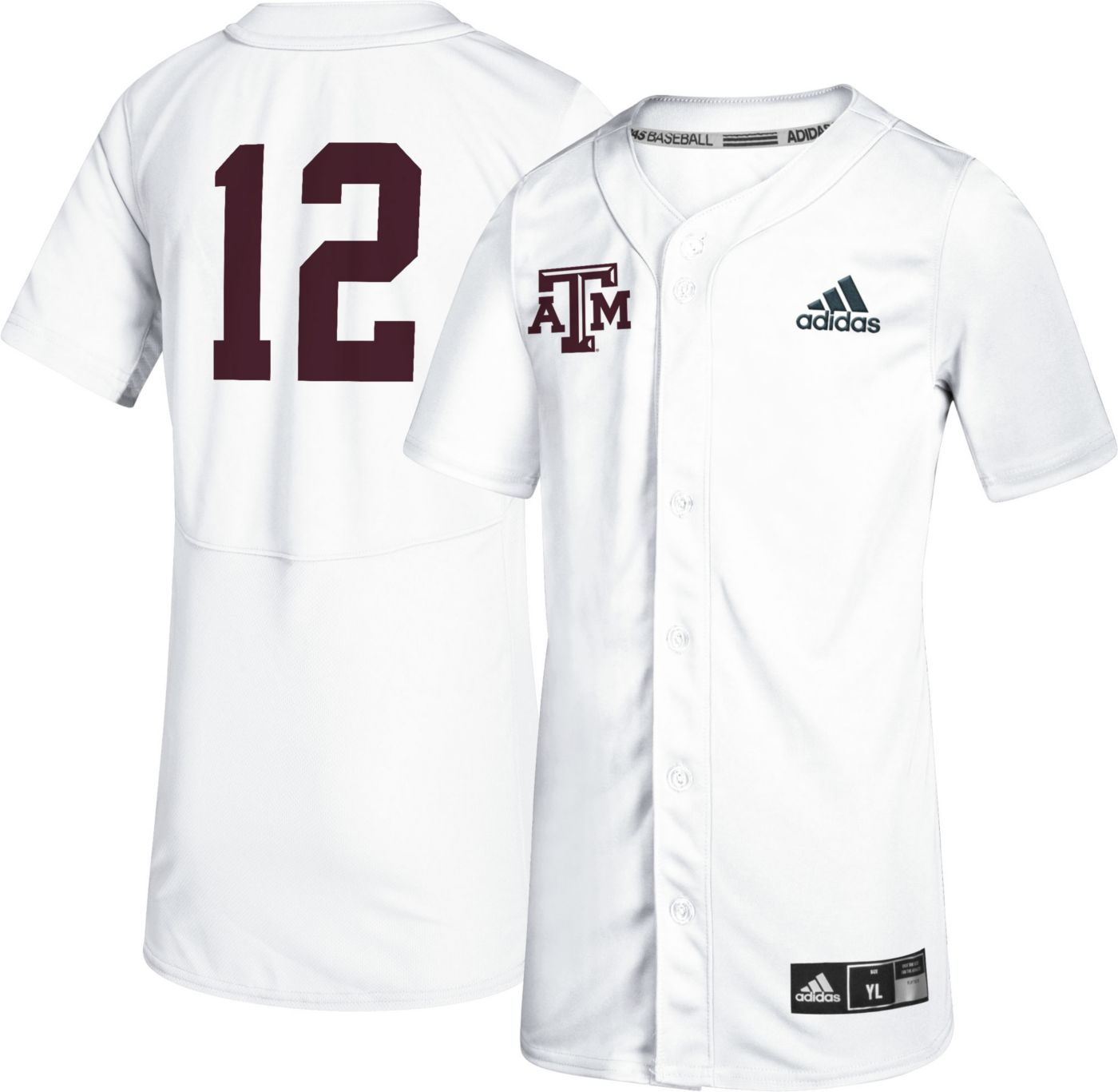 adidas Youth Texas A&M Aggies #12 Full-Button Replica Baseball White Jersey