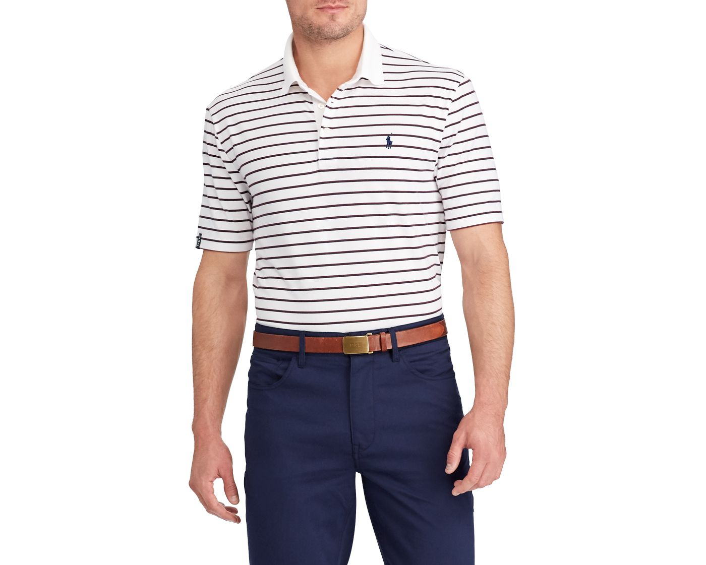 Polo Golf Men's Stripe Lisle Golf Polo