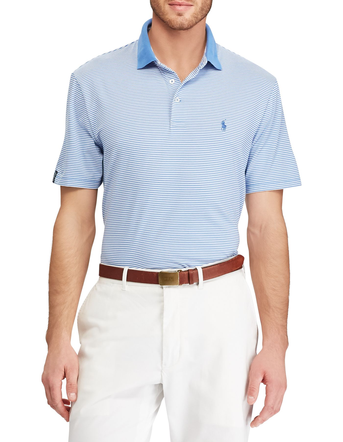 Polo Golf Men's Striped Performance Lisle Golf Polo