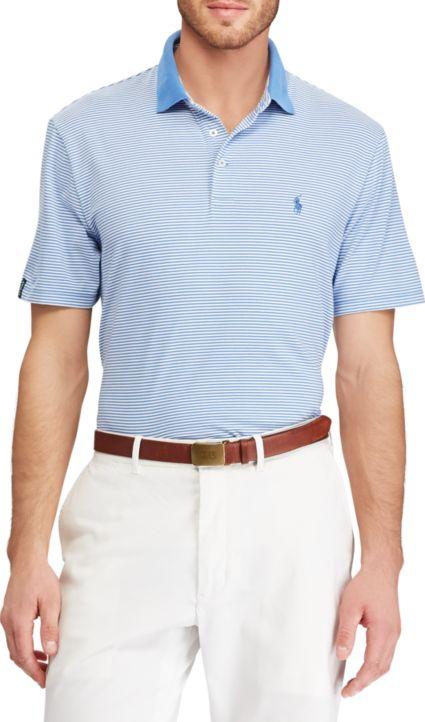 Polo Golf Men's Striped Performance Lisle Golf Polo