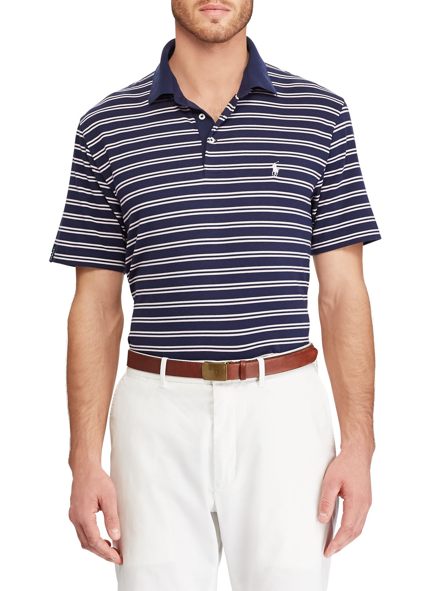 Polo Golf Men's Double Stripe Performance Lisle Golf Polo