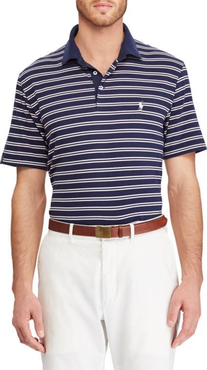 Polo Golf Men's Double Stripe Performance Lisle Golf Polo